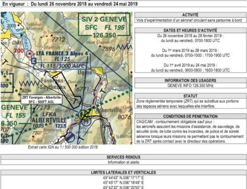 Avril 2019 – Zone Réglementée Temporaire – ZRT  dans le secteur Faverges – Albertville