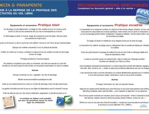 Reprise de l'activité : communiqué préfecture Haute-Savoie, sécurité et fiche d'aide à la reprise FFVL