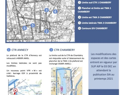 Modification des espaces aériens Annecy et Chambéry – 3 décembre 2020