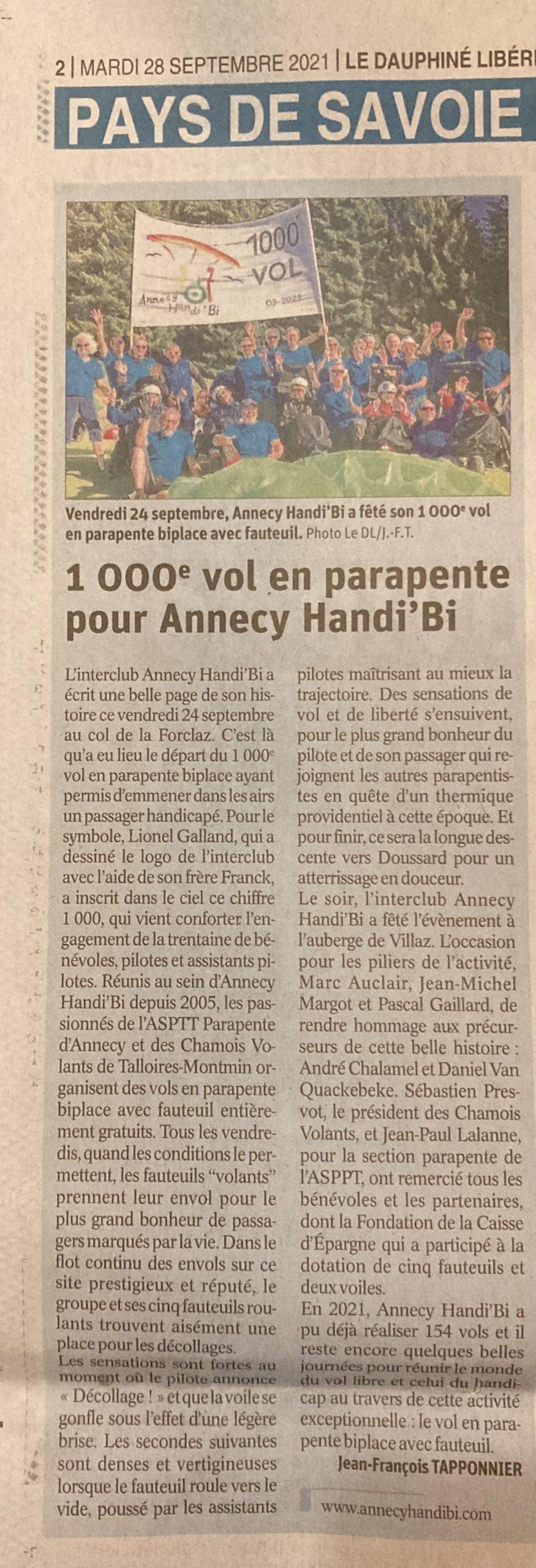Dauphiné Libéré 2021-09-28 Annecy Handibi